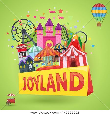 Amusement park emblem with inscription carousel castle ferris wheel haunted house circus on green background vector illustration