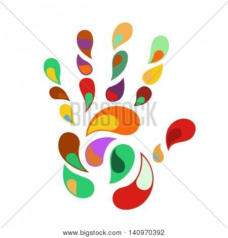 rainbow handprint of color hand and fingers