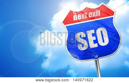Search engine optimalization, 3D rendering, blue street sign