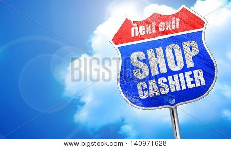 shop cashier, 3D rendering, blue street sign