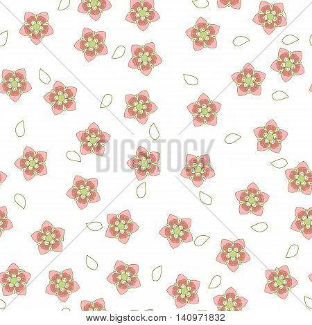 Pink and white sakura pattern. Vector illustration