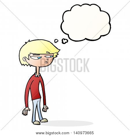 cartoon suspicious boy with thought bubble