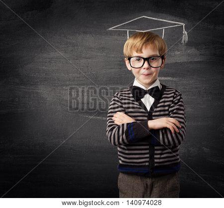 Child Boy Glasses School Kid in Chalk Hat over Blackboard Education Concept