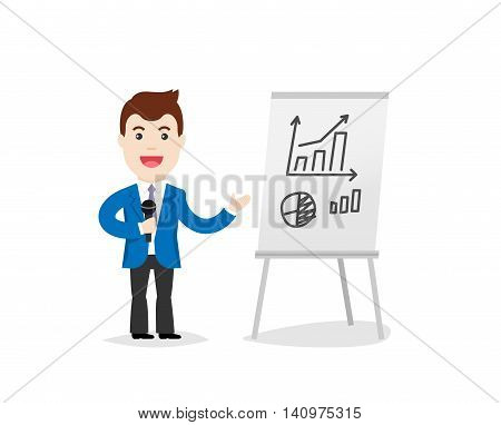 Business Training vector illustration. Speaker in a suit and with microphone standing near flipchart. Speaking to the audience concept and business man.
