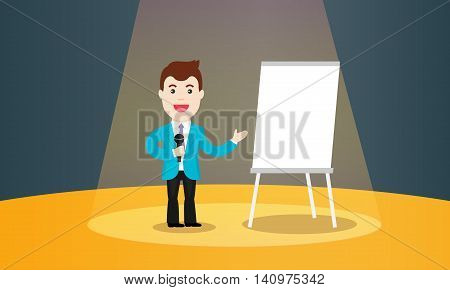Business Training vector illustration. Speaker in a suit and with microphone standing near flipchart. Speaking to the audience concept.
