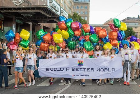 STOCKHOLM, SWEDEN - JULY 30, 2016: Stockholm Pride Parade in Stockholm. The Stockholm Pride festival has been held annually since 1998.