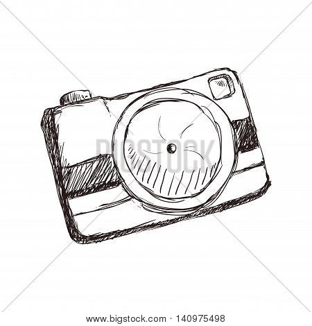 camera focus gadget technology icon. Isolated and sketch illustration. Vector graphic