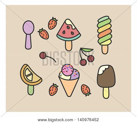 set of vector icons: ice cream, strawberry, cherry, toping watermelon spoon decoration