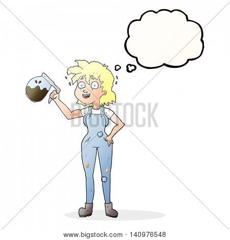 too much coffee freehand drawn thought bubble cartoon