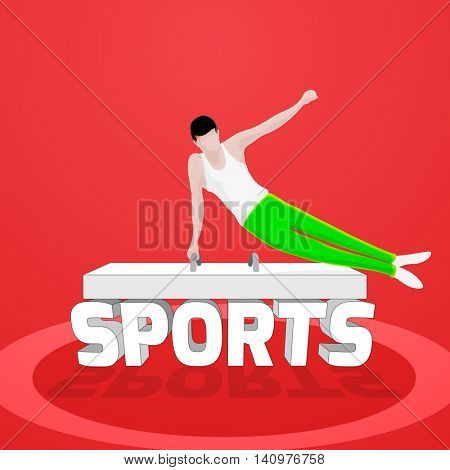 Illustration of a young boy performing Artistic Gymnastics and Stylish 3D Text Sports on shiny background, Can be used as Poster, Banner or Flyer design.