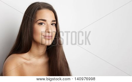 Portrait Handsome Pretty Young Woman Long Hair Empty White Background.Beauty, Grooming, Fashion People Photo.Sexy Topless Lady Smiling Camera Studio Shot.Horizontal Wide Blank Space Image