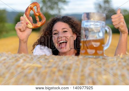 Happy Woman Partying During The Oktoberfest