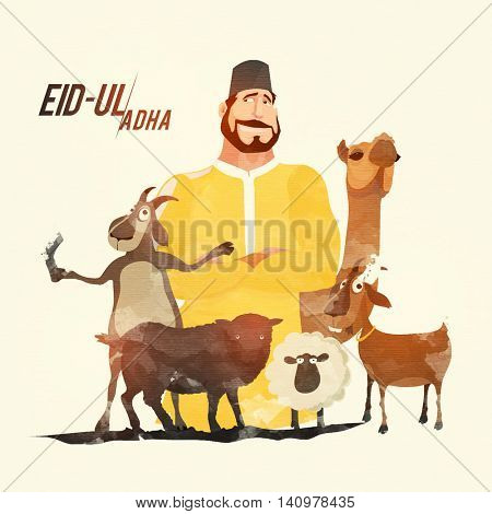 Illustration of Butcher with Animals for Muslim Community, Festival of Sacrifice, Eid-Ul-Adha Celebration.