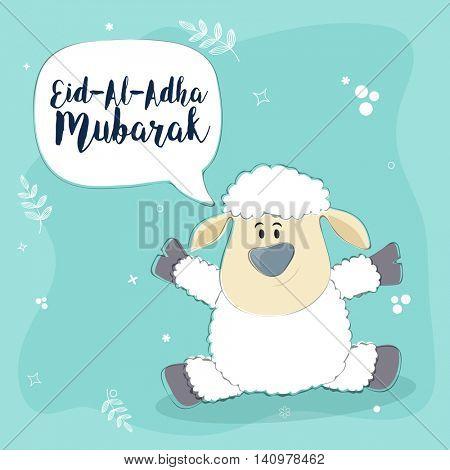 Cute Baby Sheep, Saying Eid-Al-Adha Mubarak, Beautiful vector card design for Muslim Community, Festival of Sacrifice Celebration.