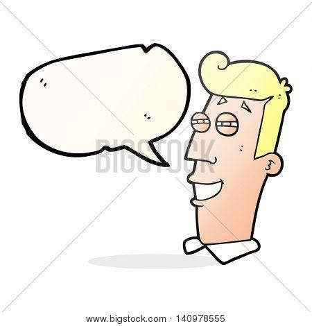 freehand drawn speech bubble cartoon grinning man