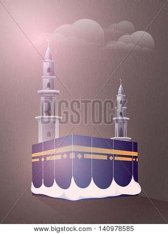 Illustration of Kaaba, Mekkah. Islamic sacred Masjid-Al-Haram on glossy, night Desert background.