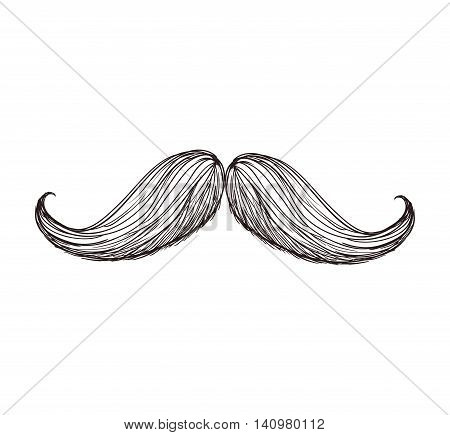 mustache striped male man gentleman icon. Isolated and flat illustration. Vector graphic