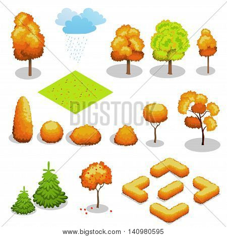 Isometric vector autumn tree set. Landscape constructor kit. Different trees for make design