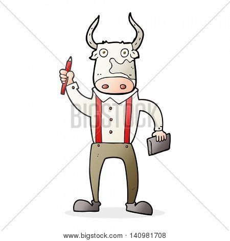 freehand drawn cartoon bull man