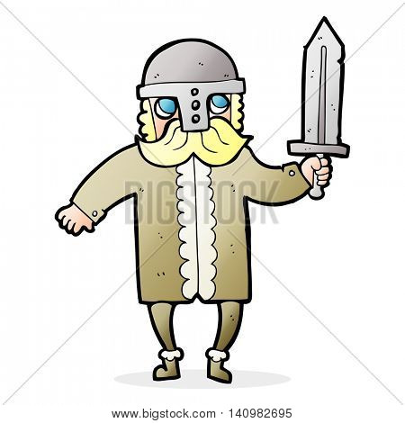 freehand drawn cartoon saxon warrior