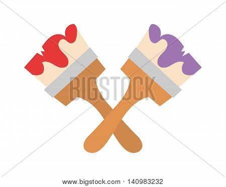 Paint brush icon flat vector illustration. Some brush icon vector isolated on white background. Paint flat style design or construction brush icon work tool.