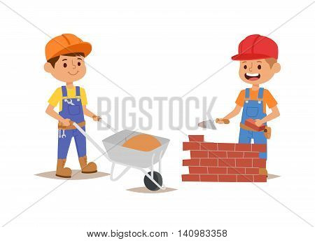 Builders kids builder with tools. Vector character builder kid, cute child construction. Little person work equipment. Fun young profession.