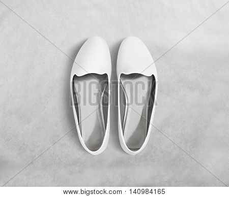 White blank women shoes mockup stand isolated, clipping path. Female ballet foot wear design mock up with clear insole. Clean lady footwear template wth flat slip. Plain dance girls shoe display.