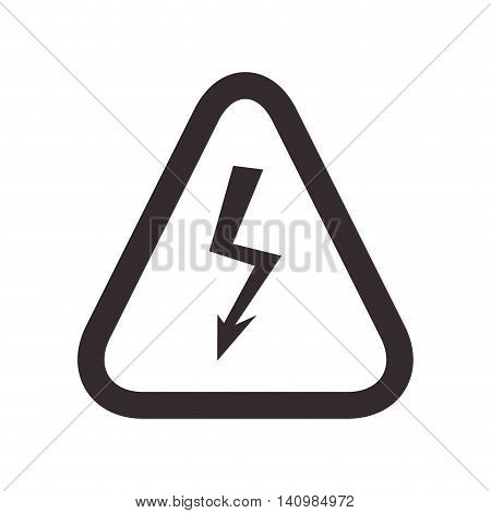 thunder road sign triangle warning icon. Isolated and flat illustration. Vector graphic