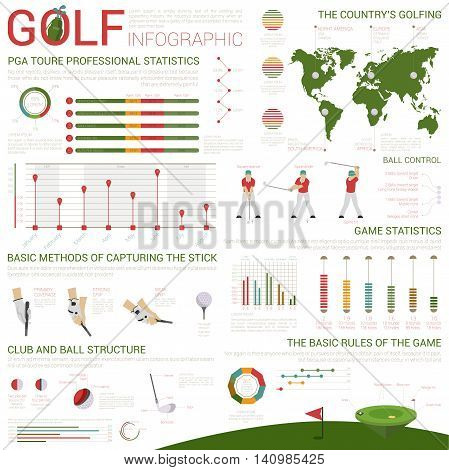 Golf sports infographics on world map and circle or bar charts. Ball and field or pitch structure, club with heel and sock, kernel and backside. Stick holding technique with arms in gloves.