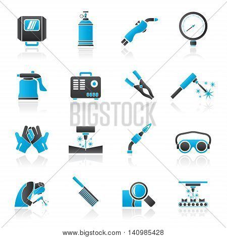 Welding and construction tools icons - vector icon set