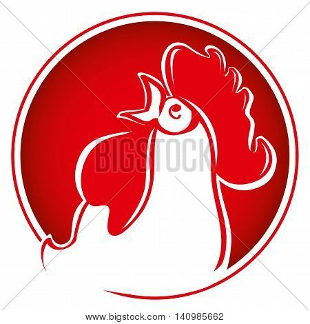 Silhouette of the head. Rooster on bright red background. Chinese New Year of the Rooster. Red - symbol of 2017. Head of rooster in red color.
