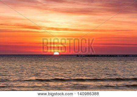 Beautiful Cloudscape Over The Sea, Sunrise Shot. Black Sea. Mamaia. Constanta. Romania. Warm Light.o