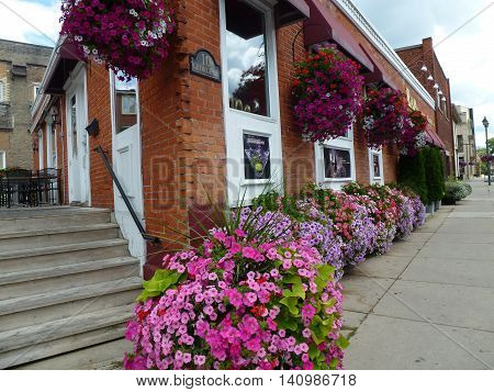 Canada, August 1, 2016, Stratford,ON, A small restaurant place with beautiful flowers