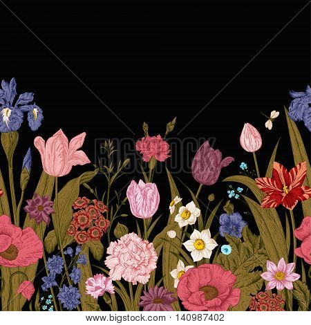 Spring flowers. Seamless floral border. Colorful poppies iris tulips carnations primroses daffodils on a black background. Night in the garden. Vintage vector illustration.