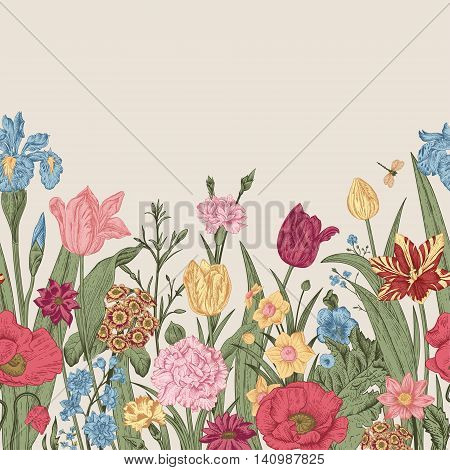 Spring flowers. Seamless floral border. Colorful poppies iris tulips carnations primroses daffodils on a beige background. Garden bed. Vintage vector illustration.