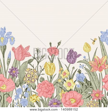 Spring flowers. Seamless floral border. Pastel poppies iris tulips carnations primroses daffodils on a beige background. Garden bed. Vintage vector illustration.