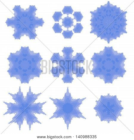 Set of Different  Ornamental Rosettes Isolated on White Background