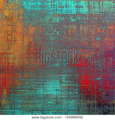 Aged background or texture. Vintage graphic composition with grunge style elements and different color patterns: yellow (beige); blue; red (orange); purple (violet); pink; cyan