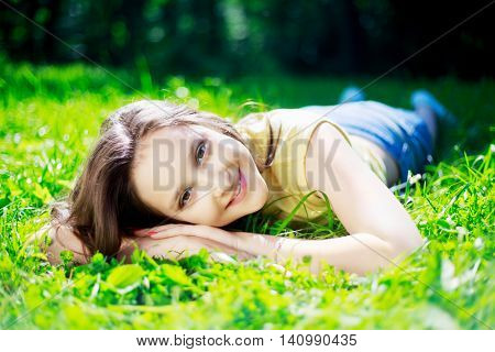pretty teenage girl outdoor on a summer day
