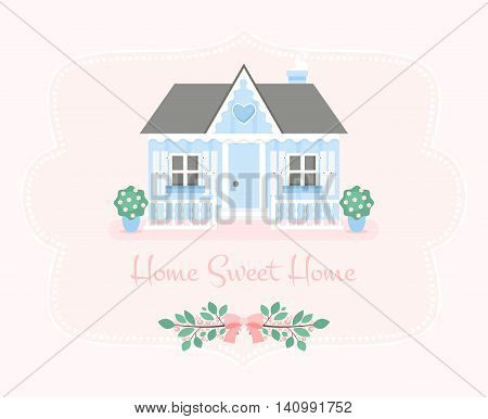 Home sweet home illustration. Vector flat house