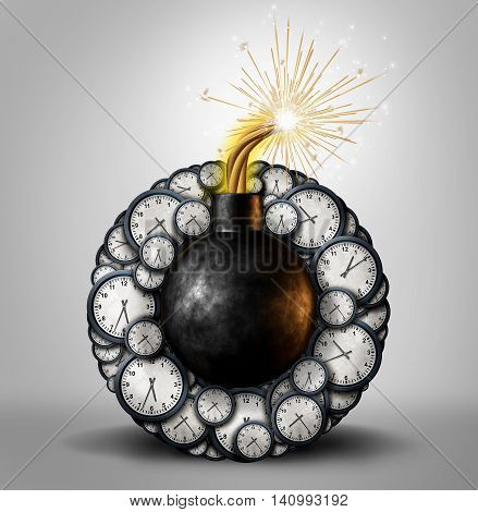 Time bomb business deadline concept as an explosive device surrounded by clock timer objects as an urgent stressful scheduling or countdown metaphor as a 3D illustration.