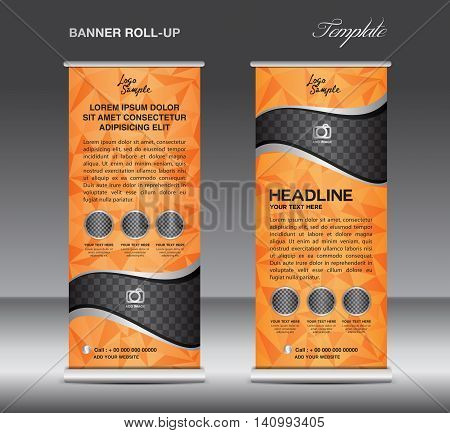 Orange Roll up banner template vector stand flyer design banner design white polygon background