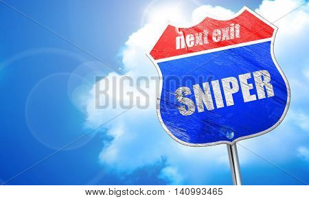 sniper, 3D rendering, blue street sign
