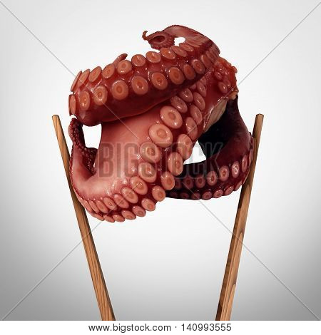 Exotic food and asian cuisine symbol as chopsticks holding fresh cooked octopus legs as aneastern dinner icon for sushi or oriental gourmet meal.