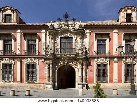 Facade of the Spanish Baroque architectural style Archbishop Palace of Seville Spain
