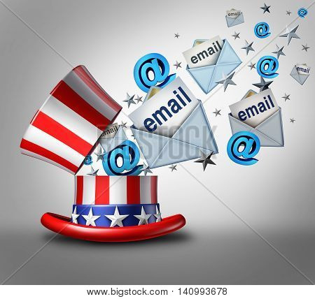 American election email crisis concept as an open top hat with the stars and stripes of the United States and internet email letter symbols emerging out as a 3D illustration.
