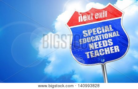 special educational needs teacher, 3D rendering, blue street sig