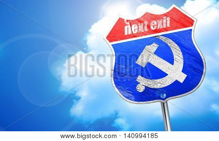 Communist sign with red and yellow colors, 3D rendering, blue st