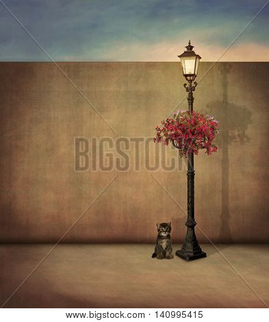 Little cat and street lamp with flowers                                                               Little cat and street lamp. 3D rendering.