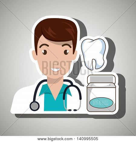 doctor tooth stethoscope mouthwash vector illustration eps 10